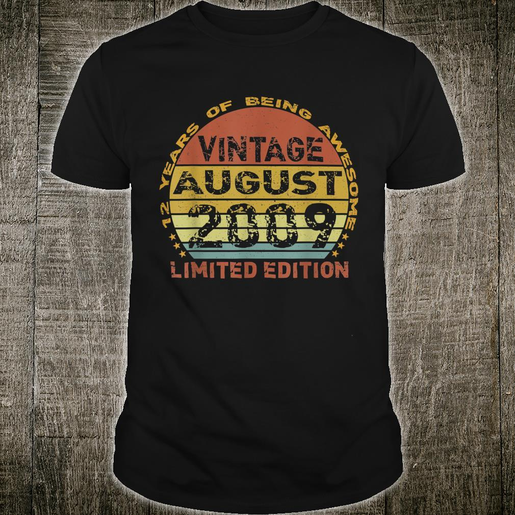 12 Years Old Vintage August 2009 Distressed 12th Birthday Shirt