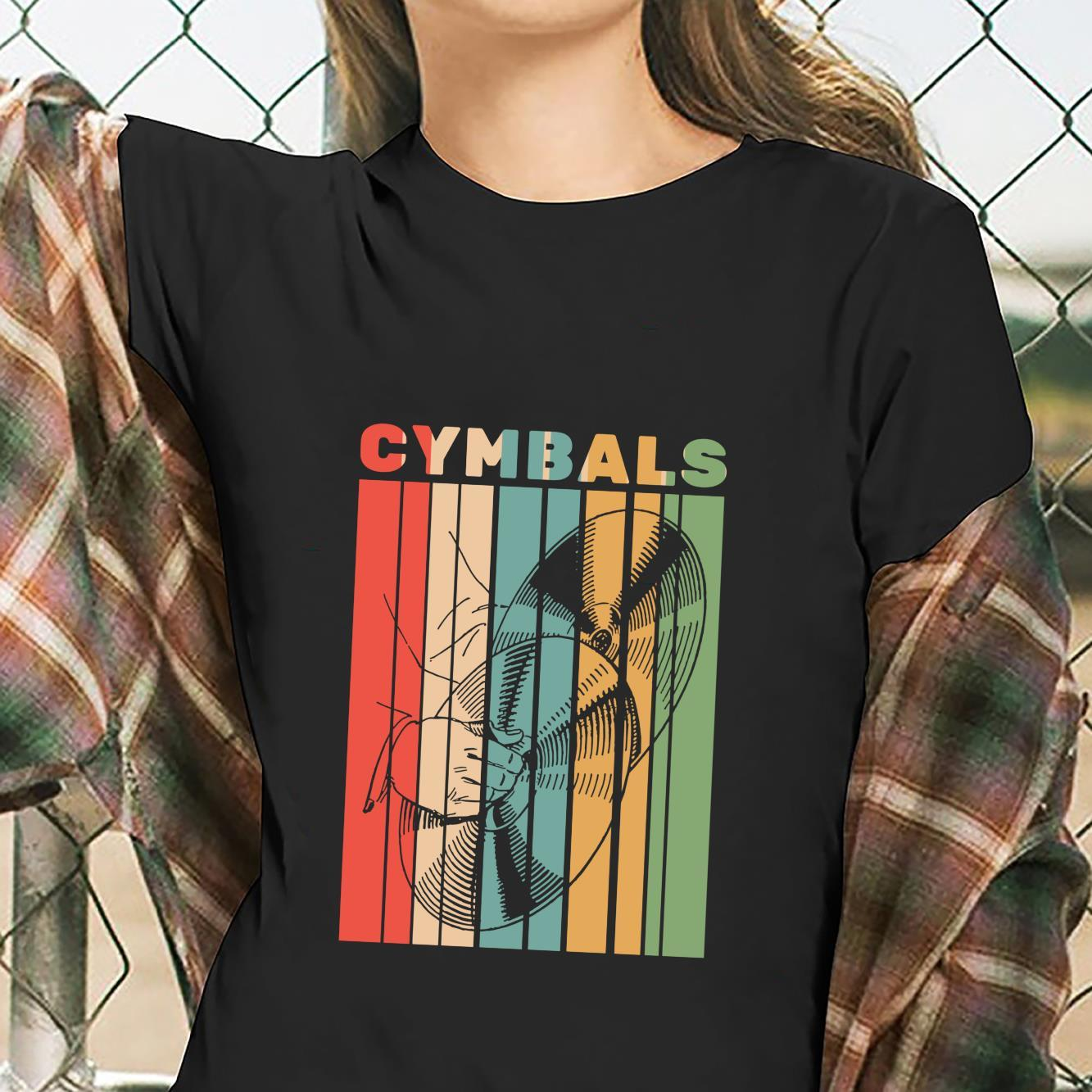 Retro Vintage Cymbals Player Drummer Marching Band Cymbalist Shirt ladies tee