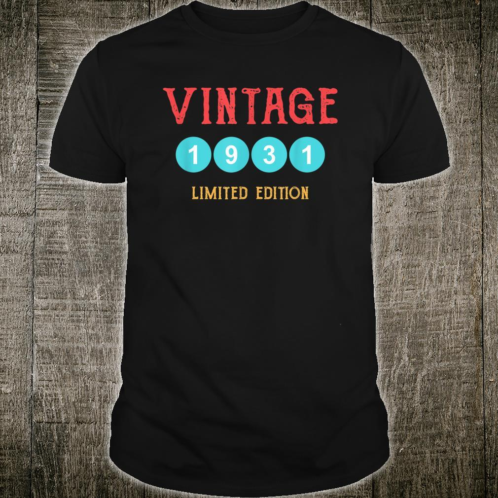 Vintage 1931 90 Years Old and 90th Birthday Shirt