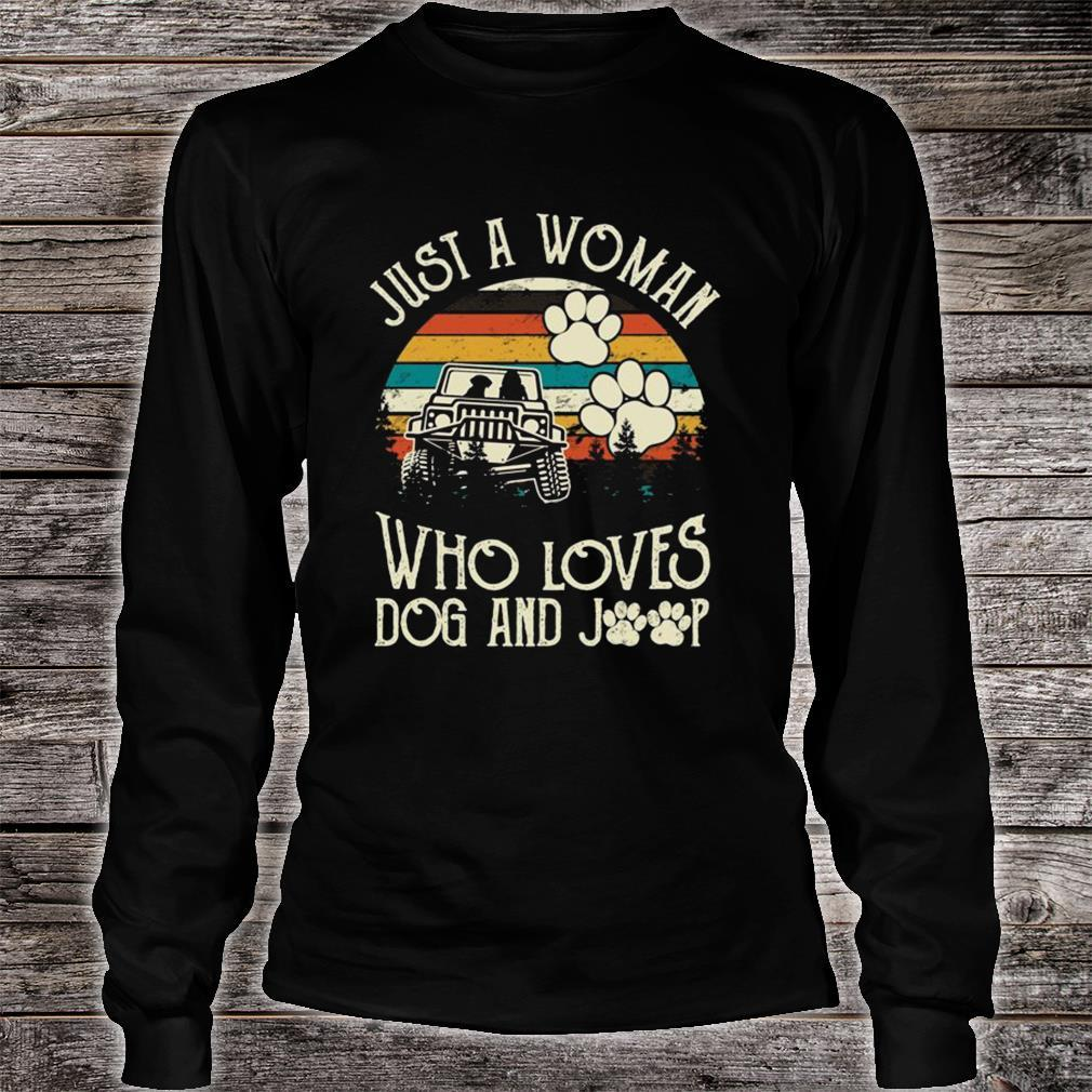 Just A Woman Who Loves Dog And Jeep Shirt long sleeved