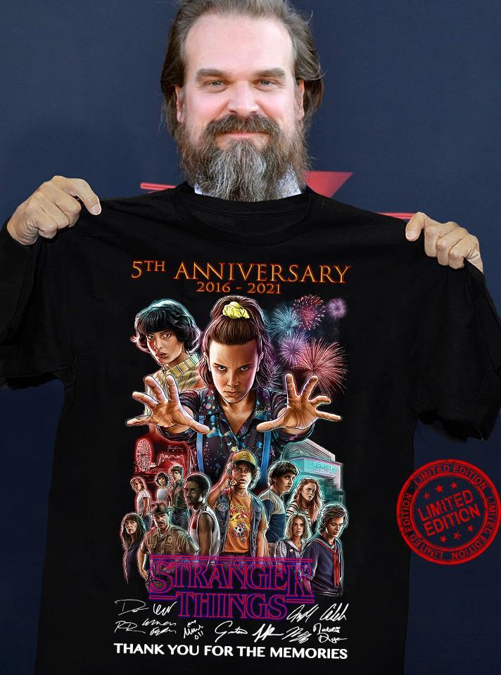 Stranger Things 5th Anniversary 2016-2021 Thank You For The Memories Shirt